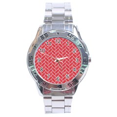 Brick2 White Marble & Red Colored Pencil Stainless Steel Analogue Watch