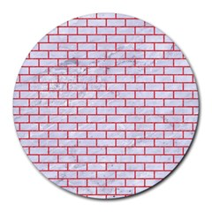 Brick1 White Marble & Red Colored Pencil (r) Round Mousepads by trendistuff