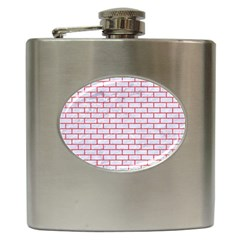 Brick1 White Marble & Red Colored Pencil (r) Hip Flask (6 Oz) by trendistuff