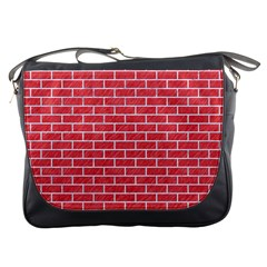 Brick1 White Marble & Red Colored Pencil Messenger Bags by trendistuff