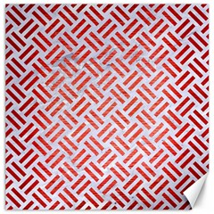 Woven2 White Marble & Red Brushed Metal (r) Canvas 20  X 20   by trendistuff