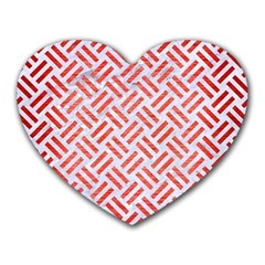 Woven2 White Marble & Red Brushed Metal (r) Heart Mousepads by trendistuff