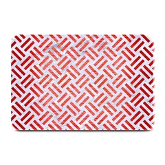 Woven2 White Marble & Red Brushed Metal (r) Plate Mats by trendistuff