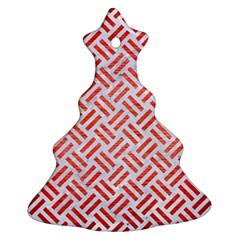 Woven2 White Marble & Red Brushed Metal (r) Christmas Tree Ornament (two Sides) by trendistuff