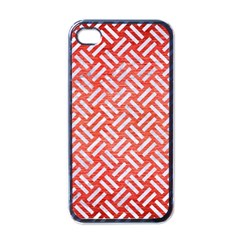 Woven2 White Marble & Red Brushed Metal Apple Iphone 4 Case (black) by trendistuff
