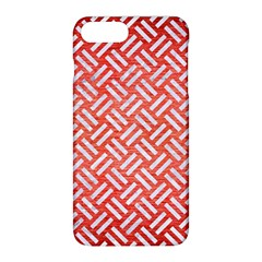 Woven2 White Marble & Red Brushed Metal Apple Iphone 8 Plus Hardshell Case