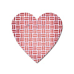 Woven1 White Marble & Red Brushed Metal (r) Heart Magnet by trendistuff