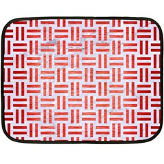 Woven1 White Marble & Red Brushed Metal (r) Fleece Blanket (mini) by trendistuff