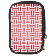 Woven1 White Marble & Red Brushed Metal (r) Compact Camera Cases by trendistuff
