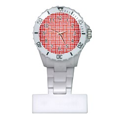 Woven1 White Marble & Red Brushed Metal Plastic Nurses Watch by trendistuff