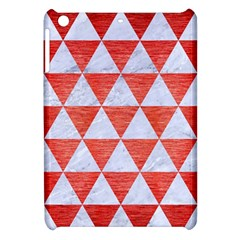 Triangle3 White Marble & Red Brushed Metal Apple Ipad Mini Hardshell Case by trendistuff