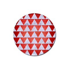 Triangle2 White Marble & Red Brushed Metal Rubber Round Coaster (4 Pack)  by trendistuff