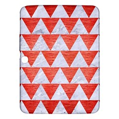 Triangle2 White Marble & Red Brushed Metal Samsung Galaxy Tab 3 (10 1 ) P5200 Hardshell Case  by trendistuff