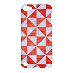 Triangle1 White Marble & Red Brushed Metal Apple Ipod Touch 5 Hardshell Case by trendistuff
