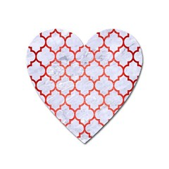 Tile1 White Marble & Red Brushed Metal (r) Heart Magnet by trendistuff