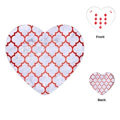 Tile1 White Marble & Red Brushed Metal (r) Playing Cards (heart)  by trendistuff