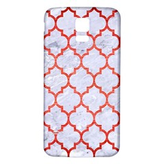 Tile1 White Marble & Red Brushed Metal (r) Samsung Galaxy S5 Back Case (white) by trendistuff