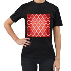 Tile1 White Marble & Red Brushed Metal Women s T Shirt (black) by trendistuff