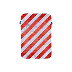 Stripes3 White Marble & Red Brushed Metal (r) Apple Ipad Mini Protective Soft Cases by trendistuff