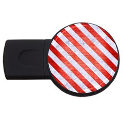Stripes3 White Marble & Red Brushed Metal Usb Flash Drive Round (2 Gb) by trendistuff
