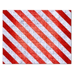 Stripes3 White Marble & Red Brushed Metal Rectangular Jigsaw Puzzl by trendistuff