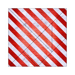 Stripes3 White Marble & Red Brushed Metal Acrylic Tangram Puzzle (6  X 6 )