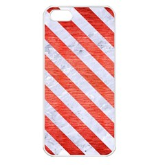 Stripes3 White Marble & Red Brushed Metal Apple Iphone 5 Seamless Case (white) by trendistuff