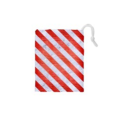 Stripes3 White Marble & Red Brushed Metal Drawstring Pouches (xs)  by trendistuff