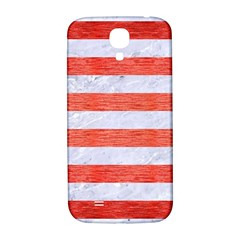 Stripes2white Marble & Red Brushed Metal Samsung Galaxy S4 I9500/i9505  Hardshell Back Case by trendistuff