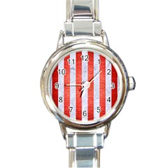 Stripes1 White Marble & Red Brushed Metal Round Italian Charm Watch by trendistuff