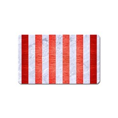 Stripes1 White Marble & Red Brushed Metal Magnet (name Card) by trendistuff