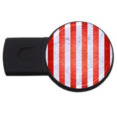 Stripes1 White Marble & Red Brushed Metal Usb Flash Drive Round (4 Gb) by trendistuff
