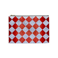 Square2 White Marble & Red Brushed Metal Cosmetic Bag (medium)  by trendistuff