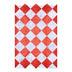 Square2 White Marble & Red Brushed Metal Shower Curtain 48  X 72  (small)  by trendistuff