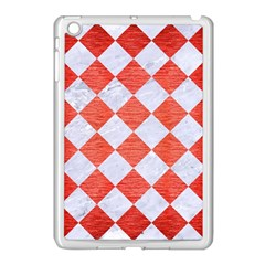 Square2 White Marble & Red Brushed Metal Apple Ipad Mini Case (white) by trendistuff