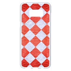 Square2 White Marble & Red Brushed Metal Samsung Galaxy S8 Plus White Seamless Case