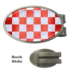 Square1 White Marble & Red Brushed Metal Money Clips (oval)