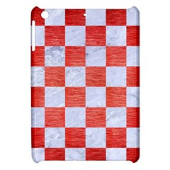 Square1 White Marble & Red Brushed Metal Apple Ipad Mini Hardshell Case by trendistuff