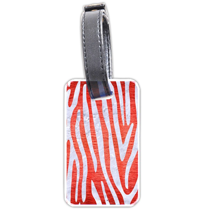 SKIN4 WHITE MARBLE & RED BRUSHED METAL (R) Luggage Tags (One Side)