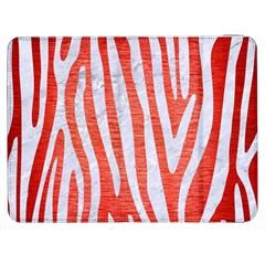 Skin4 White Marble & Red Brushed Metal (r) Samsung Galaxy Tab 7  P1000 Flip Case by trendistuff