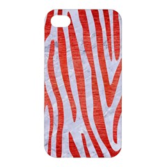 Skin4 White Marble & Red Brushed Metal Apple Iphone 4/4s Hardshell Case by trendistuff