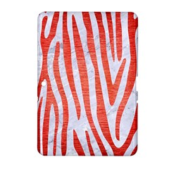 Skin4 White Marble & Red Brushed Metal Samsung Galaxy Tab 2 (10 1 ) P5100 Hardshell Case  by trendistuff