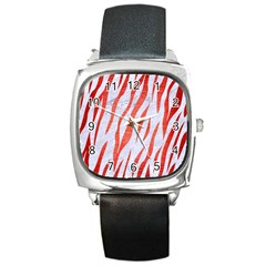 Skin3 White Marble & Red Brushed Metal (r) Square Metal Watch by trendistuff