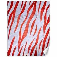 Skin3 White Marble & Red Brushed Metal (r) Canvas 12  X 16   by trendistuff