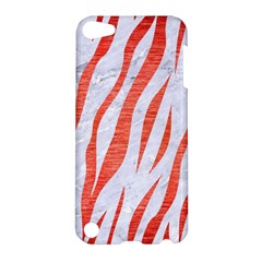 Skin3 White Marble & Red Brushed Metal (r) Apple Ipod Touch 5 Hardshell Case by trendistuff