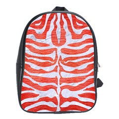 Skin2 White Marble & Red Brushed Metal School Bag (xl) by trendistuff