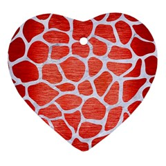 Skin1 White Marble & Red Brushed Metal (r) Ornament (heart) by trendistuff