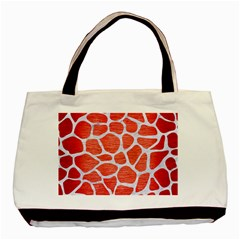 Skin1 White Marble & Red Brushed Metal (r) Basic Tote Bag by trendistuff