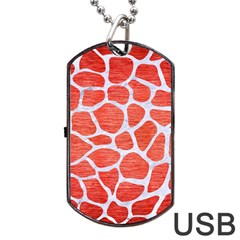 Skin1 White Marble & Red Brushed Metal (r) Dog Tag Usb Flash (one Side) by trendistuff