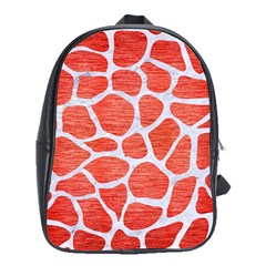Skin1 White Marble & Red Brushed Metal (r) School Bag (xl) by trendistuff